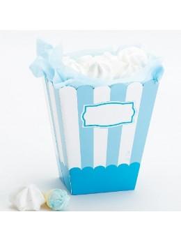 4 boîtes à pop-corn rayés bleu