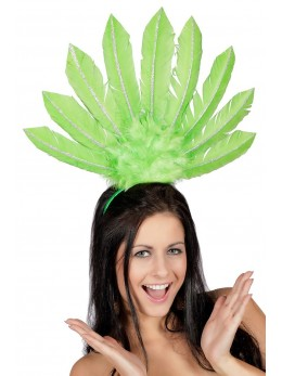 Serre-tête samba plumes vert