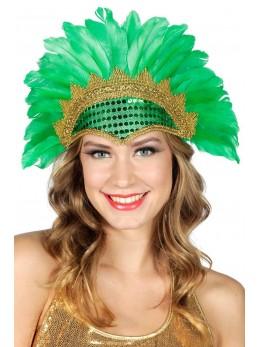 Coiffe samba plumes et paillettes verte