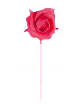Rose rouge sur tige 19 cm