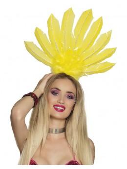 Serre-tête samba plumes jaune