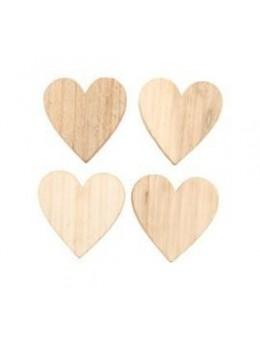 Set 12 coeurs en bois