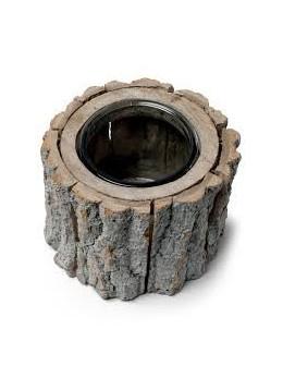 Bougeoir rondin de bois 15cm