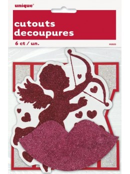 6 minis décorations pailletées Cupidon