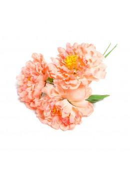 Bouquet de 3 pivoines tissu pêche