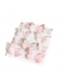 10 Papillons dégradés rose pâle