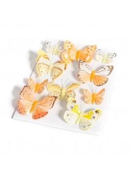 10 Papillons dégradés jaune et orange