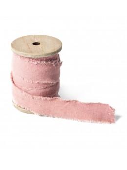 Ruban lin rose pastel 3cm