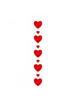 Guirlande verticale coeur rouge