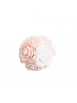 Boule de roses en mousse rose et blanche