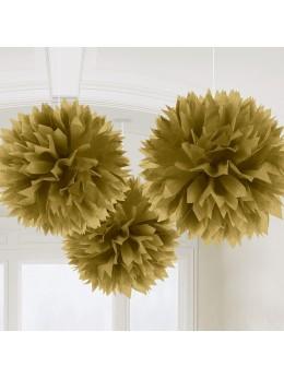 3 pompons Fleurs de soie 40cm or