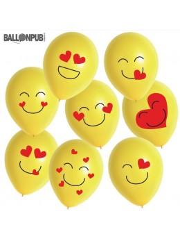 8 ballons Emoji coeur