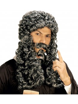 Perruque et moustache marquis poivre et sel