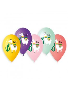 5 ballons imprimés Lama
