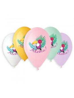 5 ballons imprimés Aloha toucan