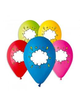 5 ballons imprimés message