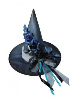 Chapeau sorcière élégante or bleu