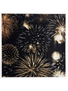20 serviettes papier feux d'artifices
