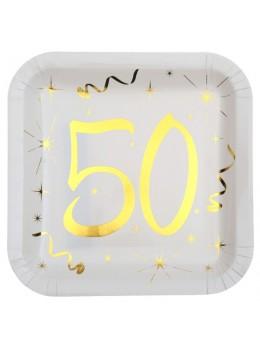 10 assiettes carton doré 50 ans