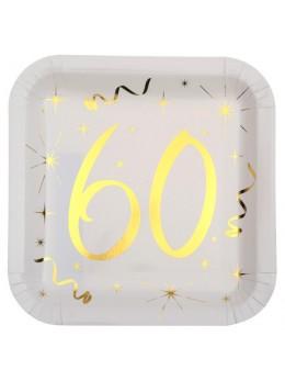 10 assiettes carton doré 60 ans