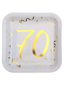 10 assiettes carton doré 70 ans