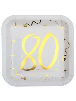 10 assiettes carton doré 80 ans