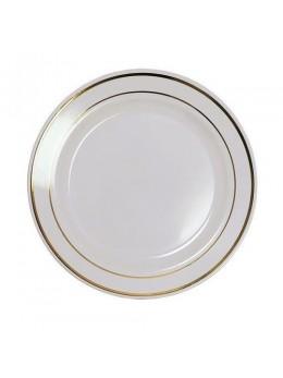 20 assiettes plastiques blanche liseret or 19cm