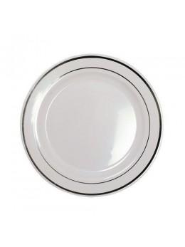 20 assiettes plastiques blanche liseret argent 23cm