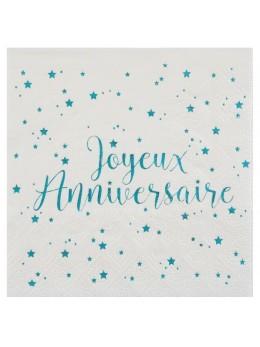 20 Serviettes joyeux anniversaire turquoise métallisé