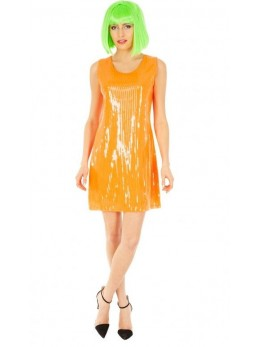 Déguisement robe sequin orange fluo