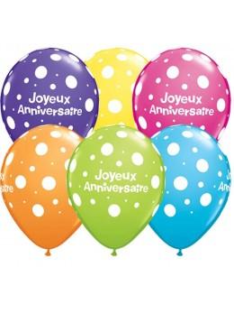 10 Ballons Joyeux anniversaire multico 30cm