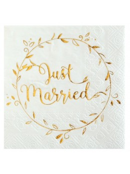 "20 Serviettes cocktail "" Just Married """