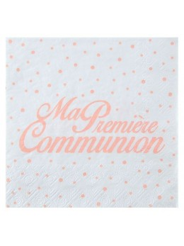 20 serviettes communion corail