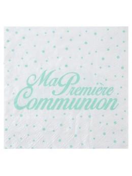 20 serviettes papier communion vert