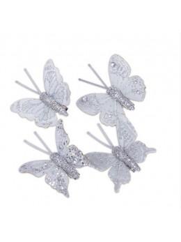 8 Papillons sur pince pailletés argent