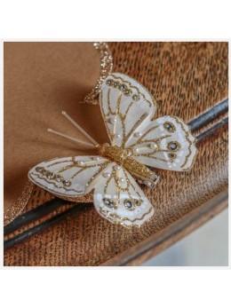 10 Papillons sur pince pailletés or