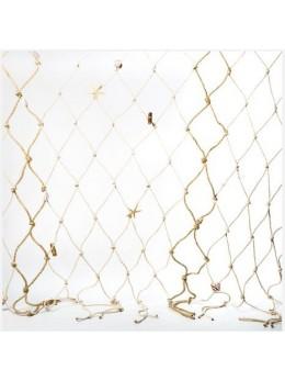Filet de pêche avec cordes ivoire et jute 100x150cm