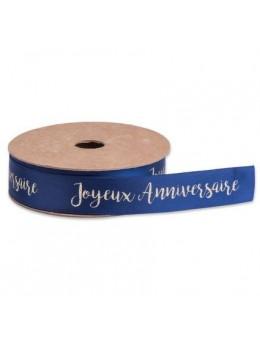 Ruban Joyeux Anniversaire satin bleu floqué or 1.9cmX10m