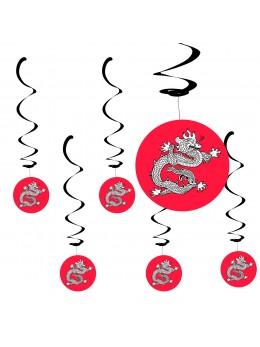 6 Suspensions dragon chinois 80cm