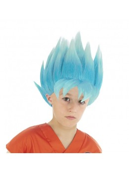 Perruque Manga Goku Saiyan super bleu officielle