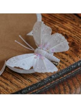 8 Papillons sur pince pailletés blanc