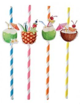 8 pailles cocktail multicolore