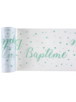 Chemin de table Baptême vert d'eau