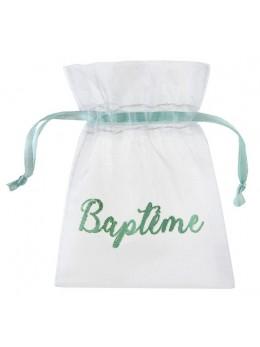6 Sachets baptême vert d'eau