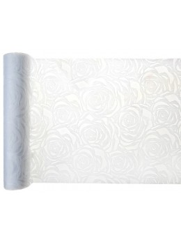 Chemin de table roses blanches