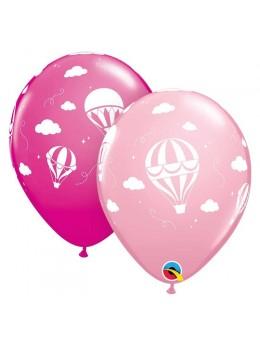 10 ballons petites montgolfières rose