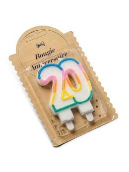 Bougies 20 ans multicolore