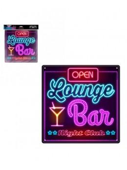 Plaque métal effet néon Lounge bar