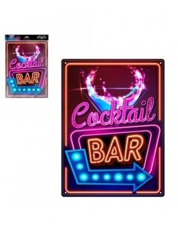 Plaque métal effet néon Cocktail