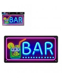 Plaque métal effet néon Bar USA